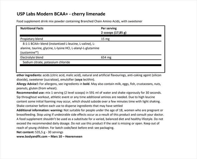 모던 BCAA+ Nutritional Information 1