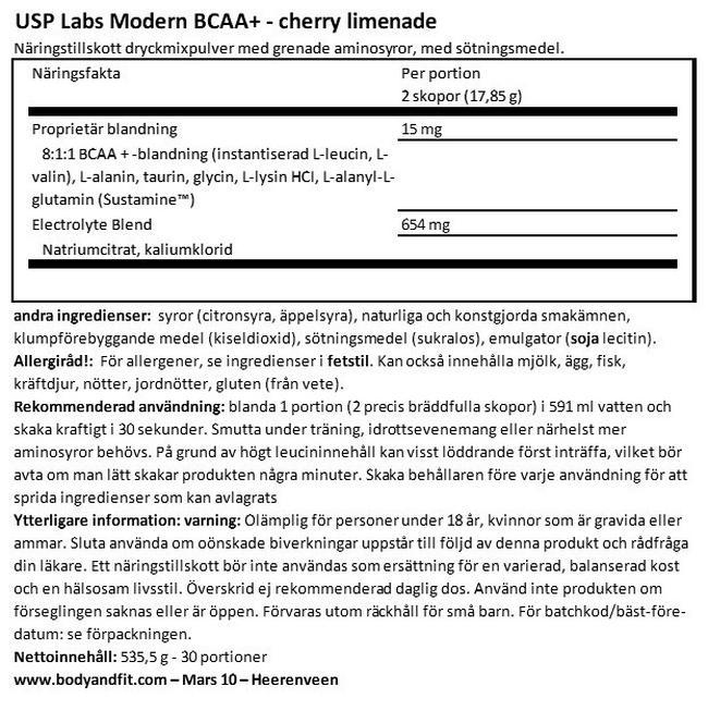 Modern BCAA+ Nutritional Information 1