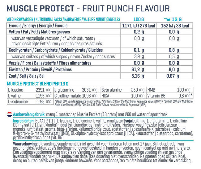 Muscle Protect Nutritional Information 1