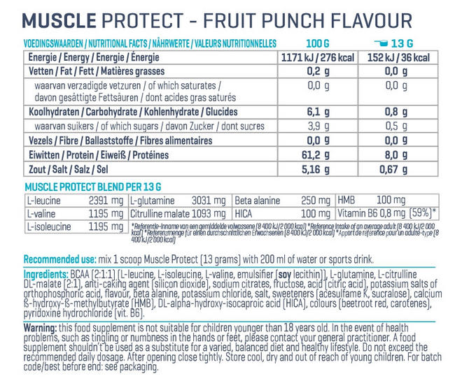 Muscle Protect Nutritional Information 3