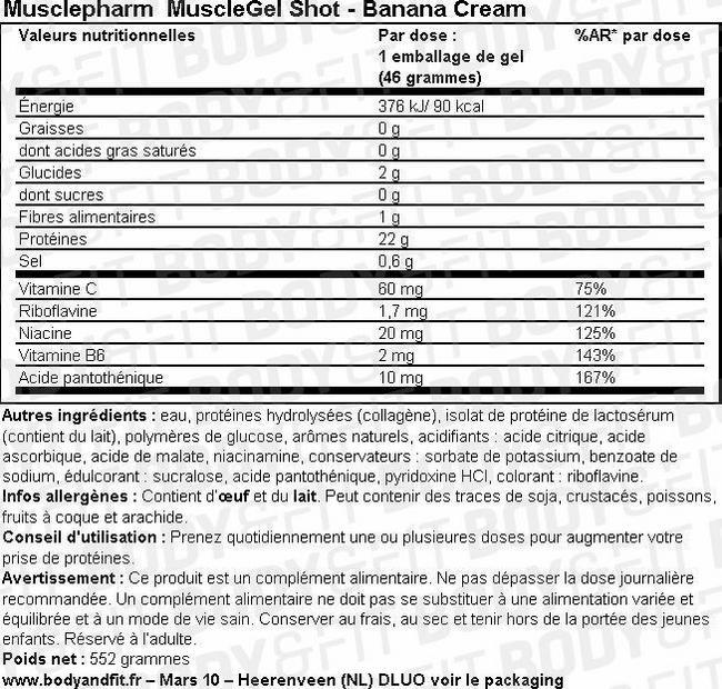 MuscleGel Shot Nutritional Information 1