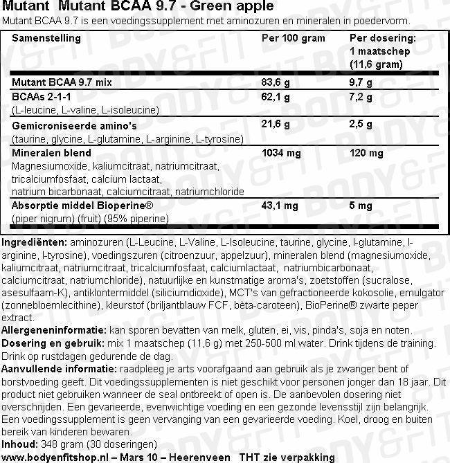 Mutant BCAA 9.7 Nutritional Information 1