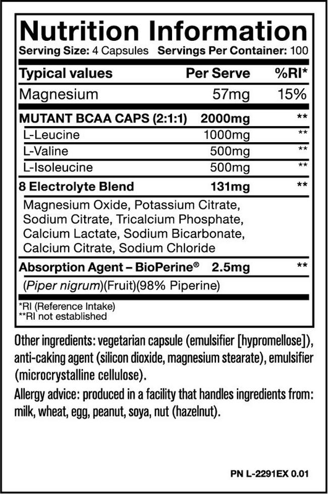 Mutant BCAA Caps Nutritional Information 3