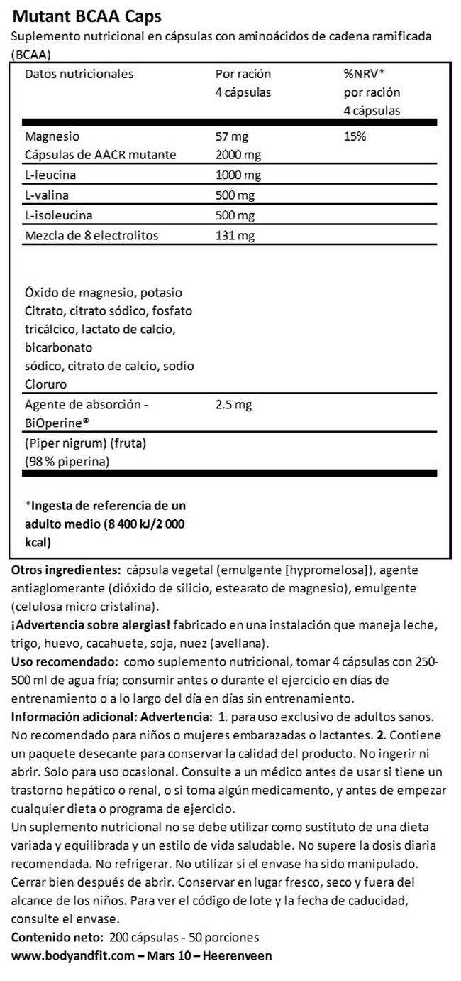 Mutant BCAA Caps Nutritional Information 1