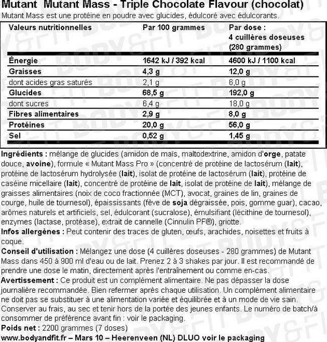 Mutant Mass Nutritional Information 2