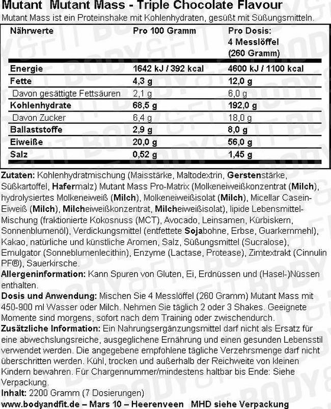 Mutant Mass Nutritional Information 3
