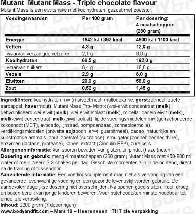 Mutant Mass Nutritional Information 1