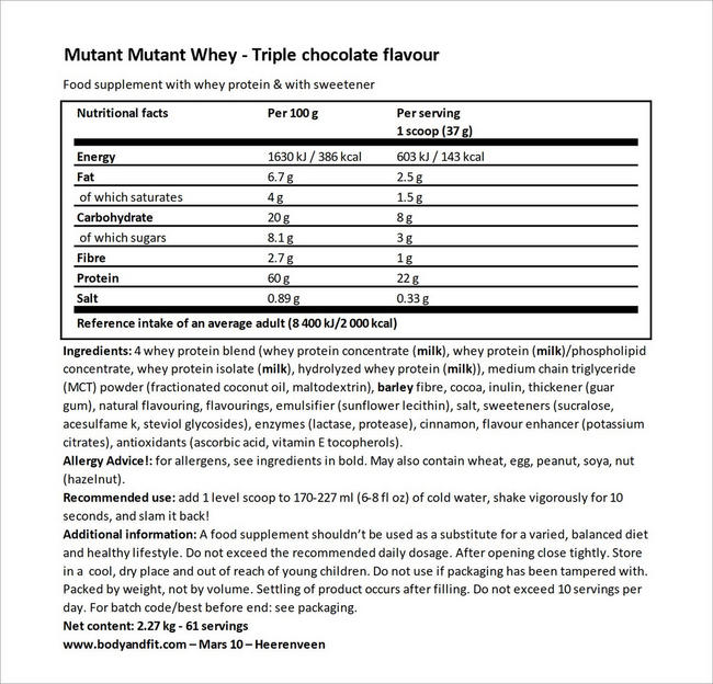 Mutant Whey Nutritional Information 5