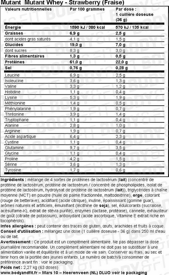 Mutant Whey Nutritional Information 1