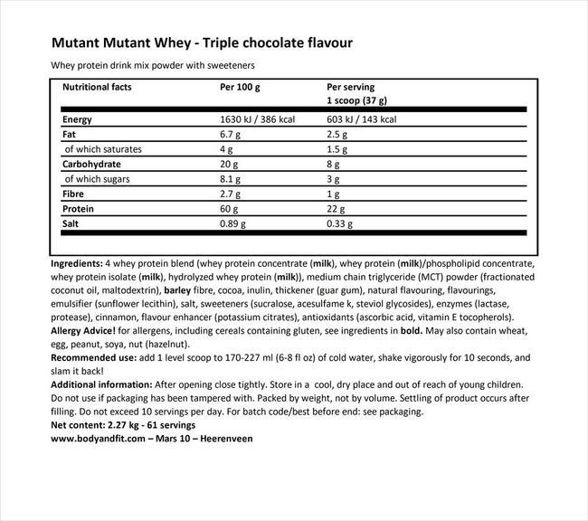 ミュータント ホエイ Nutritional Information 1