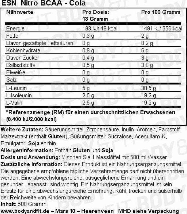 Nitro BCAA Nutritional Information 1
