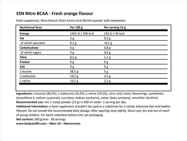 ニトロBCAA Nutritional Information 1