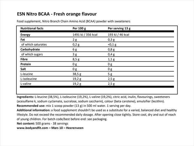 니트로 BCAA Nutritional Information 1