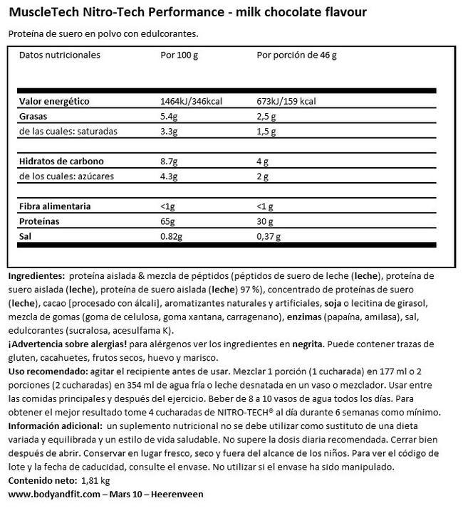 Nitro Tech Performance Nutritional Information 1