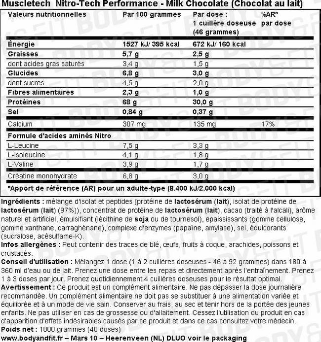 Nitro-Tech Performance Nutritional Information 1