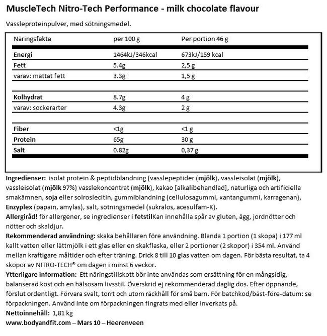 Nitrotech performance Nutritional Information 1