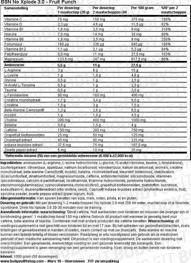 N.O.-XPLODE 3.0 Nutritional Information 1