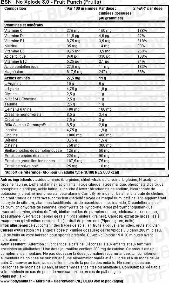 N.O.-XPLODE 3.0 Nutritional Information 2