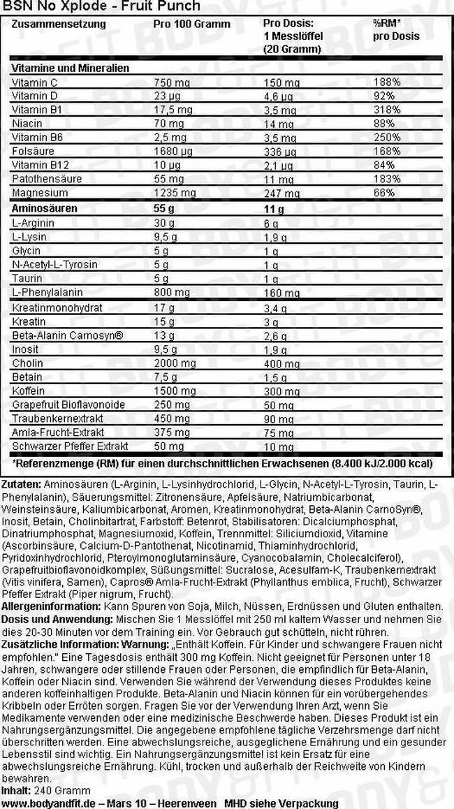 N.O.-XPLODE 3.0 Nutritional Information 3