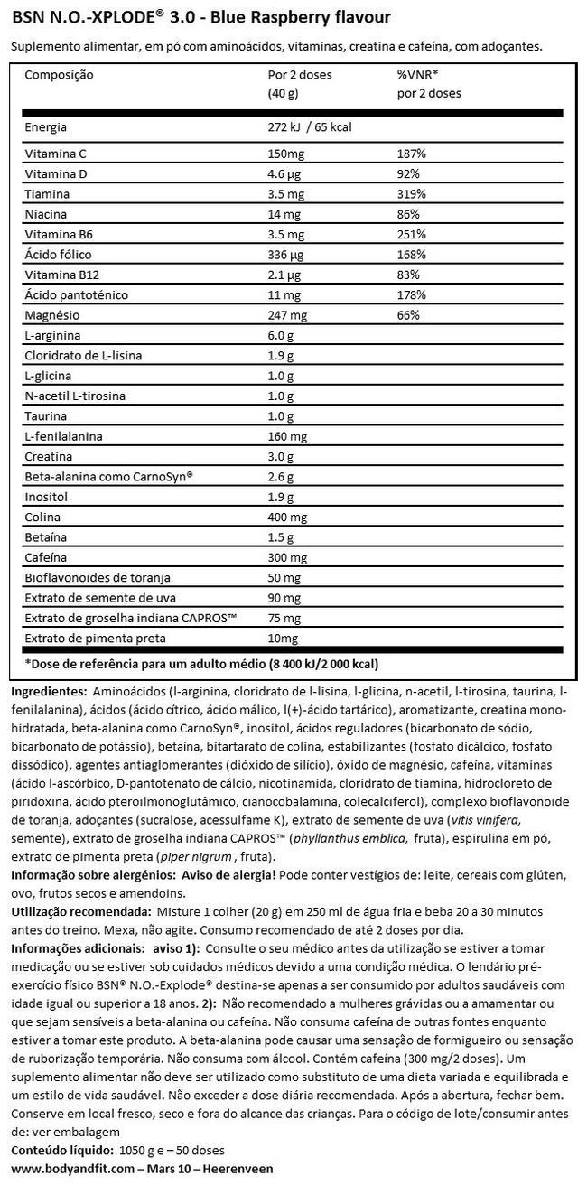 N.O. -XPLODE 3.0 Nutritional Information 1