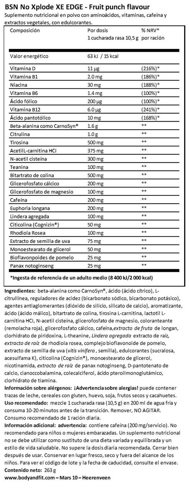No Xplode XE EDGE Nutritional Information 1