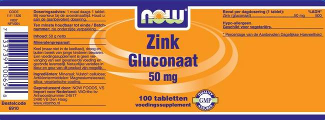 Zinc Gluconaat Nutritional Information 1