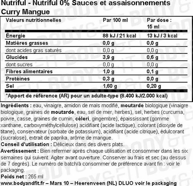 Nutriful 0 % sauces et assaisonnements Nutritional Information 1