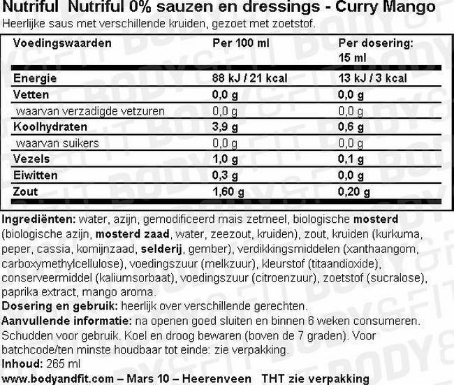 0% Sauzen Nutritional Information 1