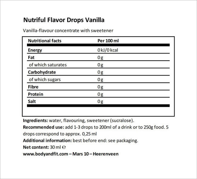 Nutriful Flavour Drops Nutritional Information 6