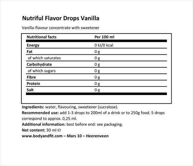 ニュートリフル フレーバードロップ Nutritional Information 1
