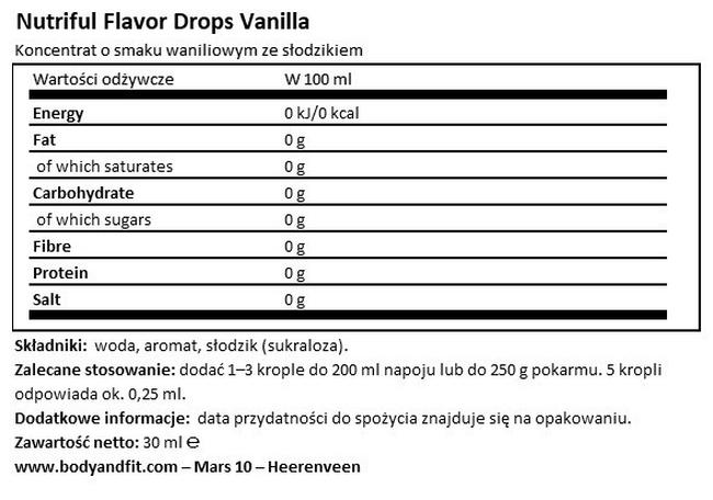 Nutriful Flavour Drops Nutritional Information 1