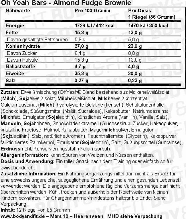 Oh Yeah! Bars - Box (12X85g) Nutritional Information 1