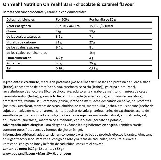Oh Yeah! Bars Nutritional Information 1