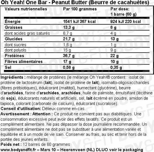 Oh Yeah! One Bar Nutritional Information 2