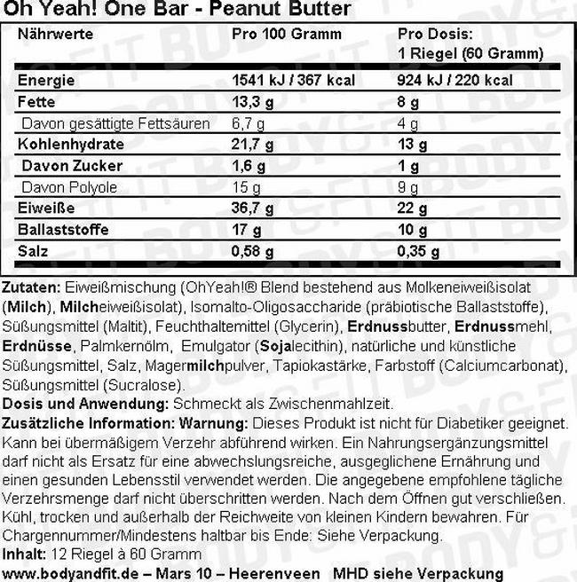 Oh Yeah! One Bar Nutritional Information 3