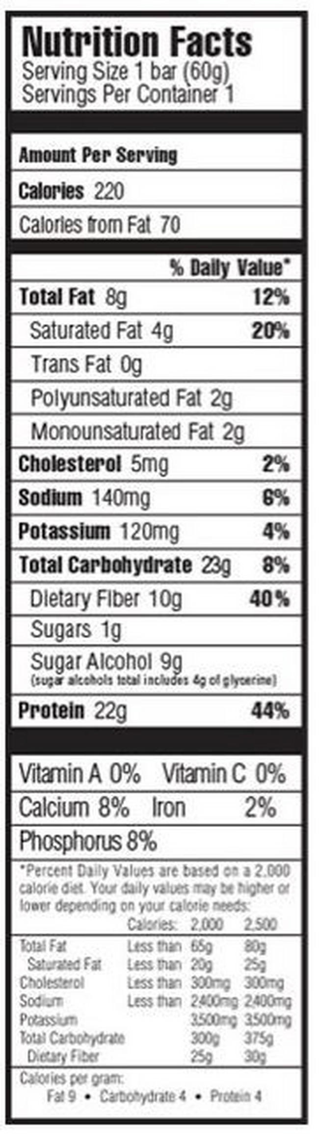 Oh Yeah! One Bar Nutritional Information 4