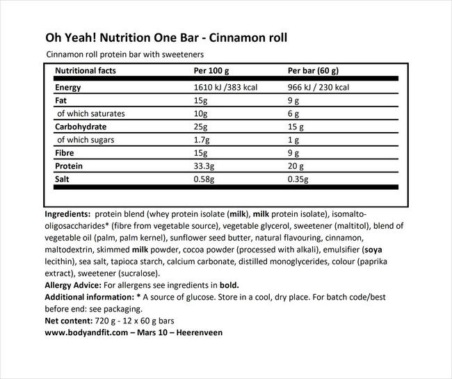 Oh Yeah! One Bar Nutritional Information 1