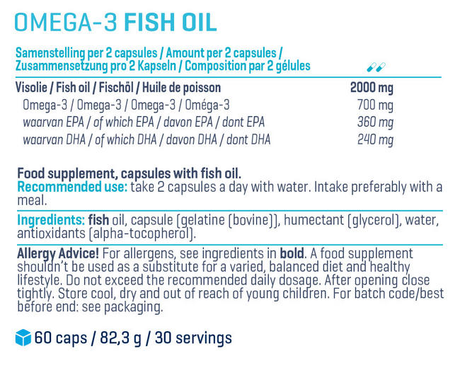 고품질 오메가 3 Nutritional Information 1
