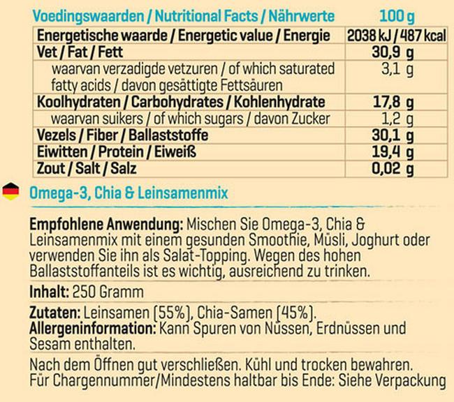 Omega-3, Chia- & Leinsamen Mix Nutritional Information 1