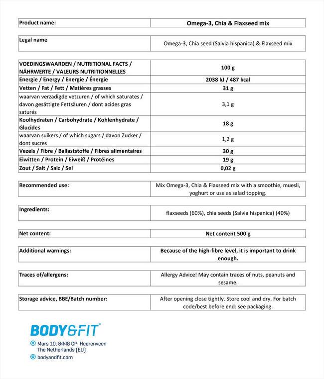 오메가 3, 치아 & 아마씨 믹스 Nutritional Information 1