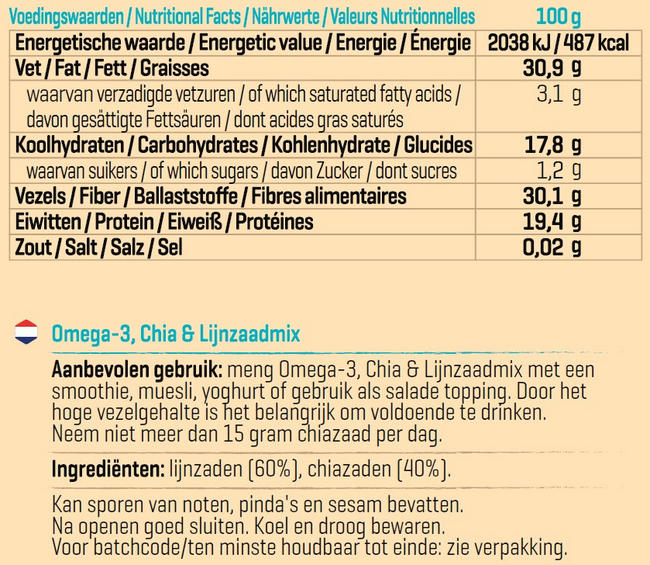 Omega-3, Chia- & Lijnzaad mix Nutritional Information 1