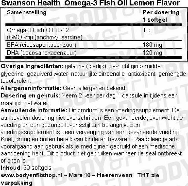 Omega-3 Fish Oil Lemon Flavor Nutritional Information 1