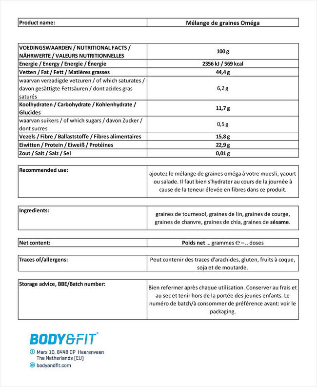 Mélange de graines Omega Seed Mix Nutritional Information 1