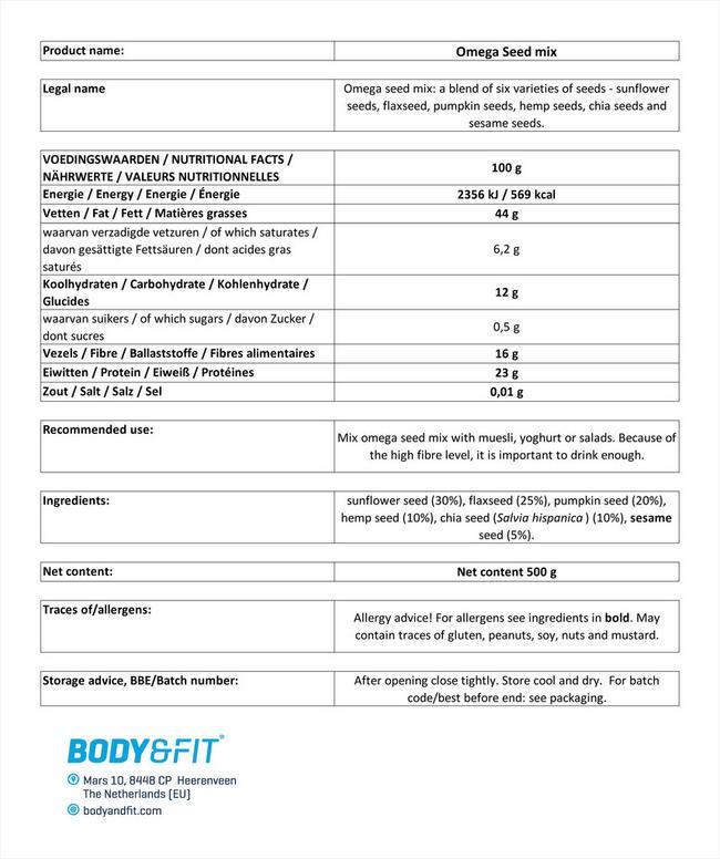 オメガシードミックス Nutritional Information 1