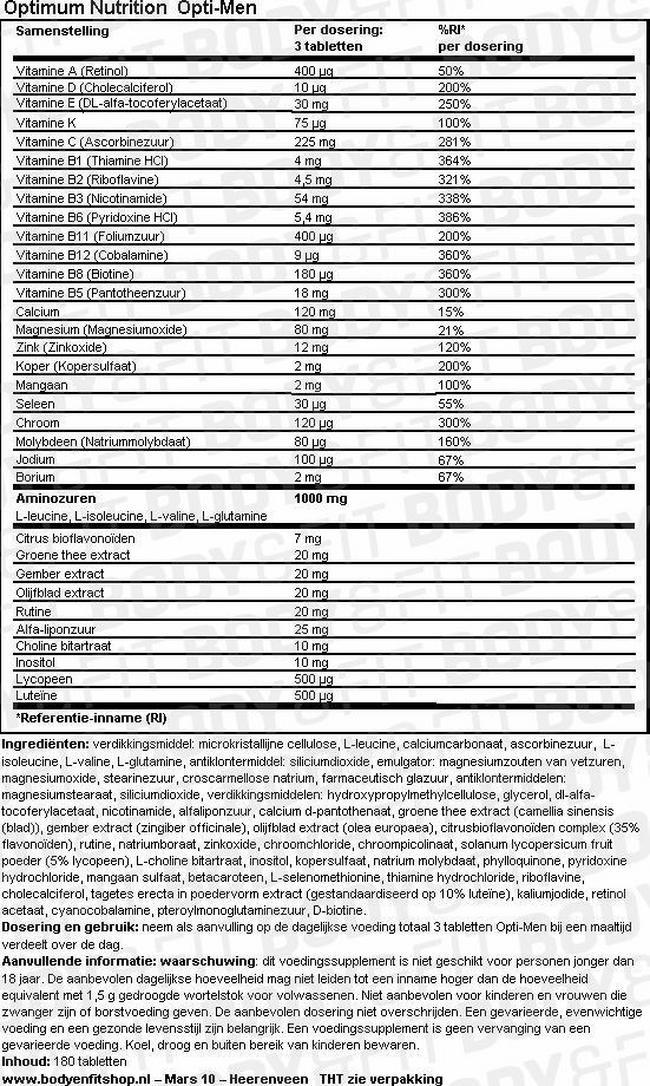 Opti-Men Nutritional Information 1