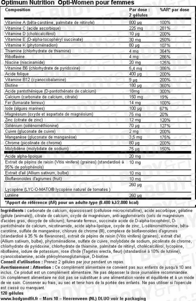 Opti-Women Nutritional Information 2