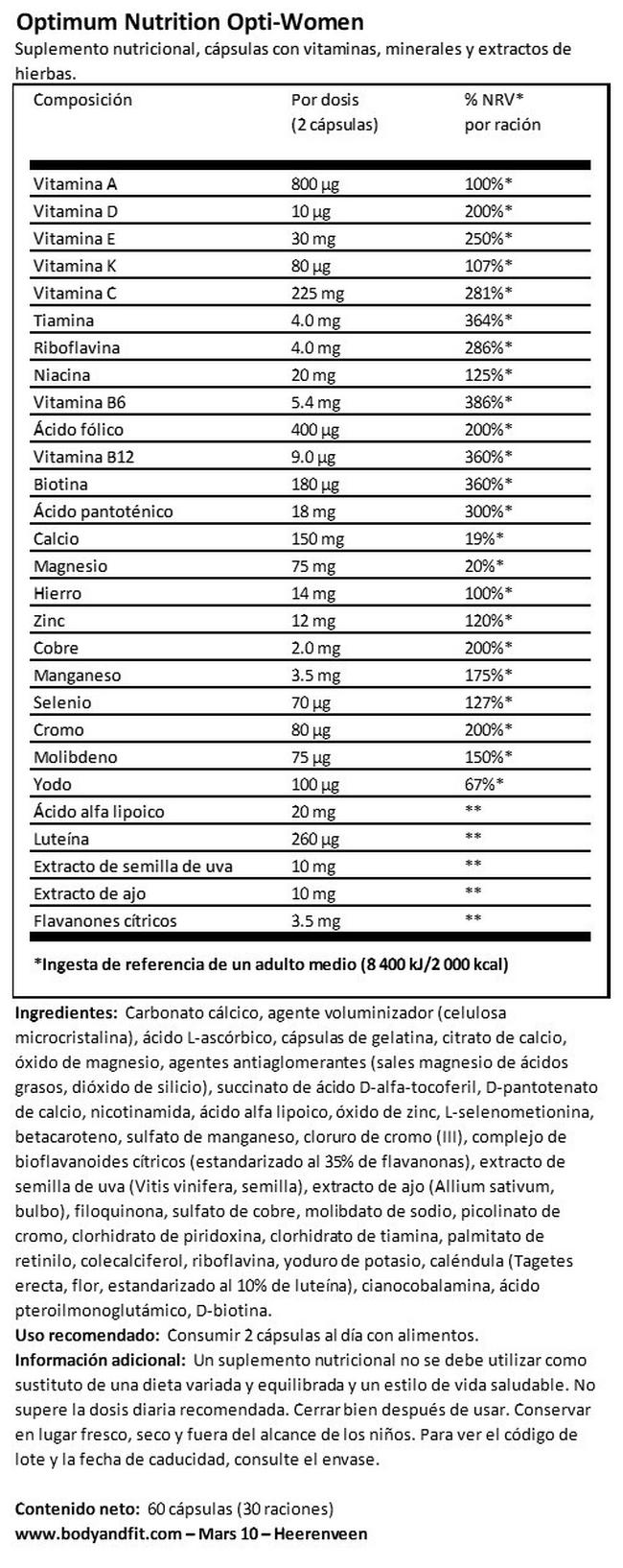 OPTI-WOMEN (VITAMINAS, MINERALES Y EXTRACTOS DE PLANTAS) Nutritional Information 1