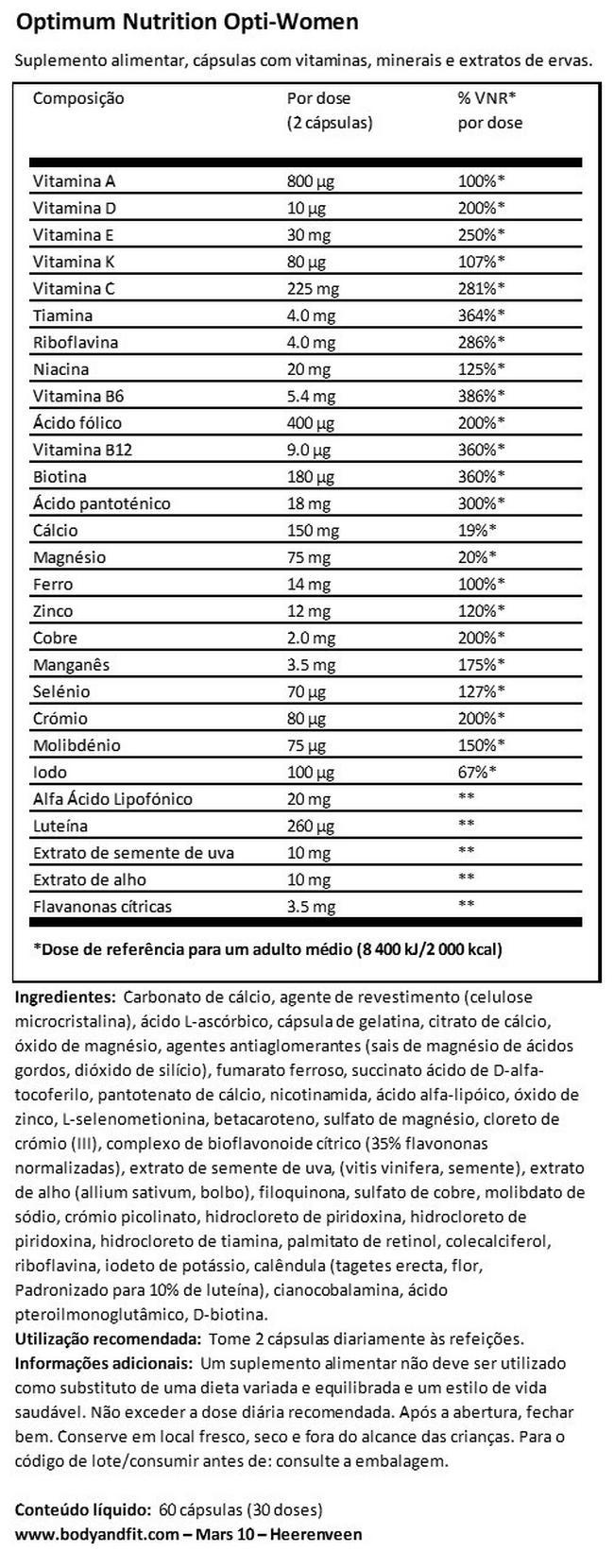 Opti - Women Nutritional Information 1