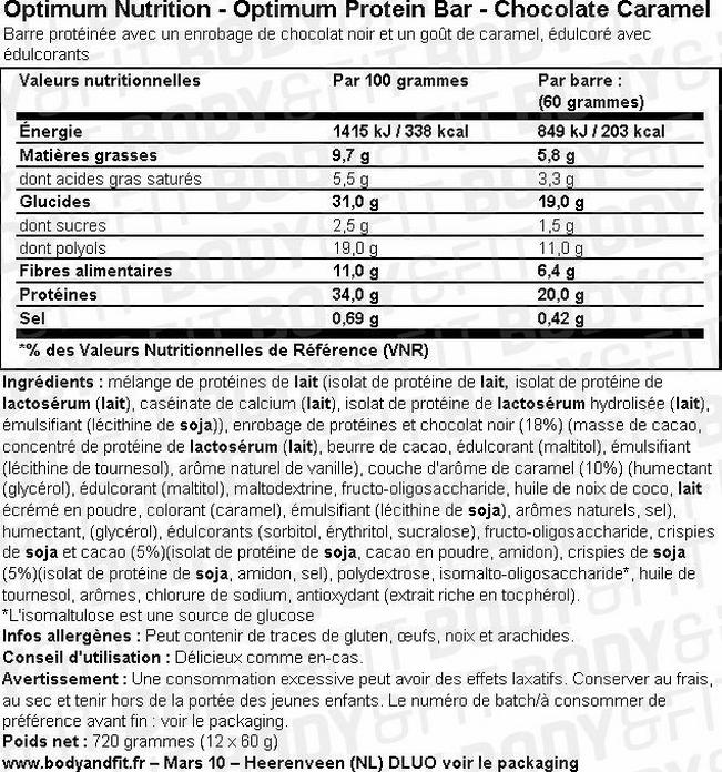 Optimum Protein Bar Nutritional Information 1