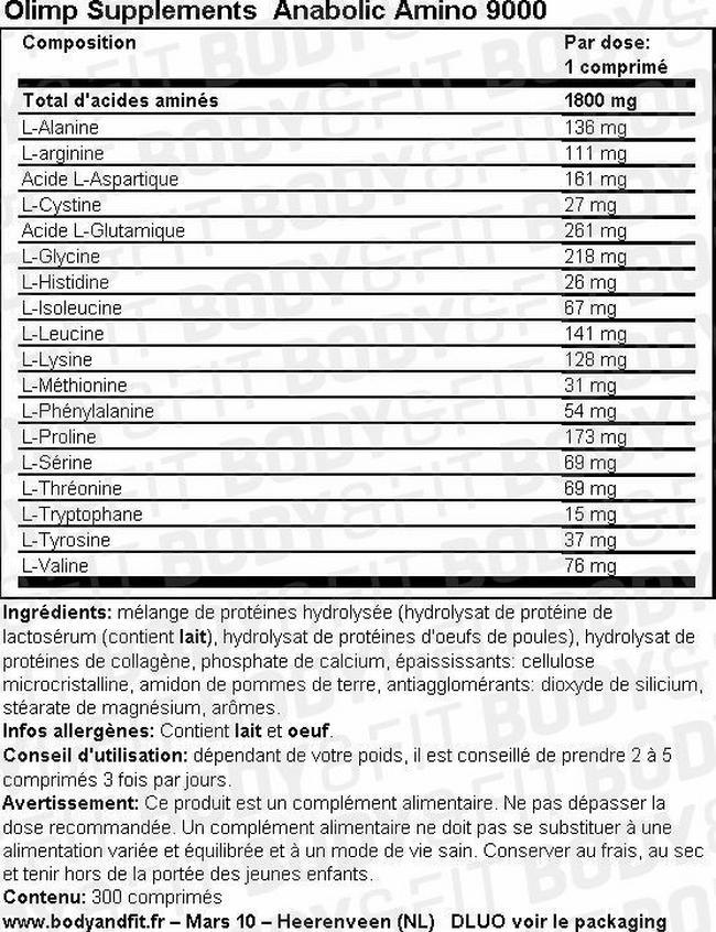 Anabolic Amino 9000 Nutritional Information 1